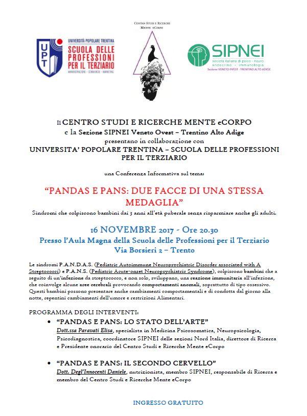 """CONFERENZA """"PANDAS E PANS: DUE FACCE DI UNA STESSA MEDAGLIA """""""