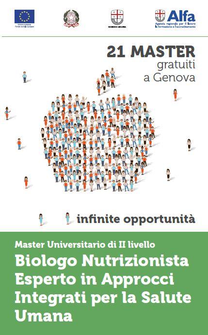 Genova, Master Universitario di II livello Biologo Nutrizionista Esperto in Approcci Integrati per la Salute Umana