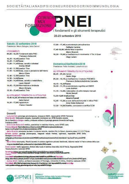 SIPNEI DIREZIONE NAZIONALE. Corso di formazione in PNEI, Milano 22-23 settembre 2018. Crediti ECM 13