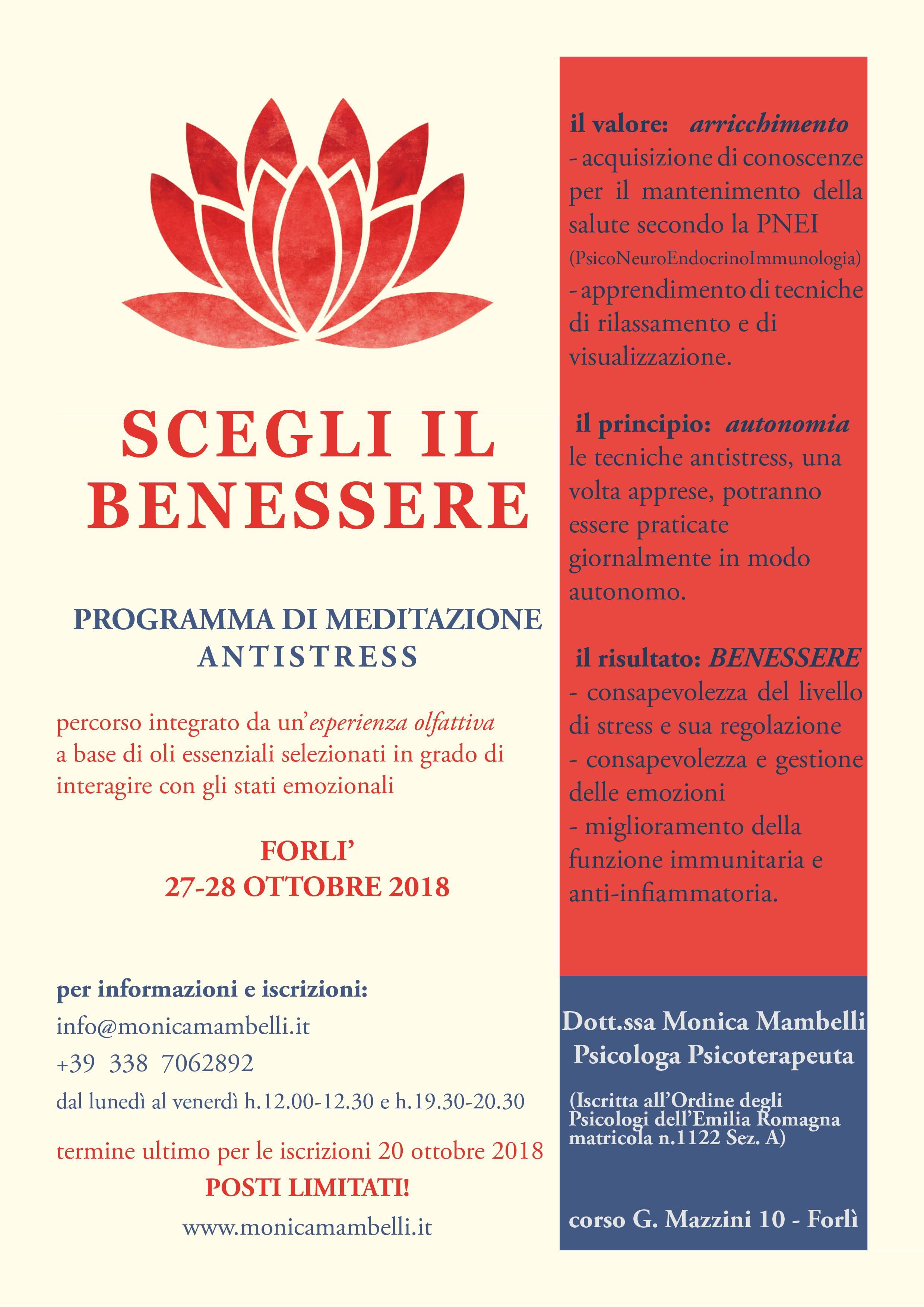 Scegli il benessere. Programma di Meditazione Antistress. 27-28 Ottobre 2018 Forlì