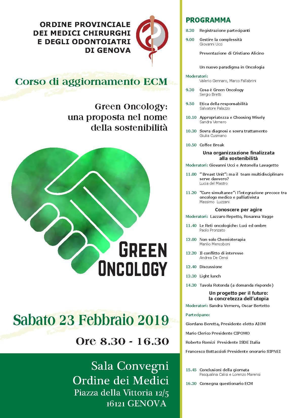 Ordine dei medici di Genova 23 febbraio 2019. Green Oncology
