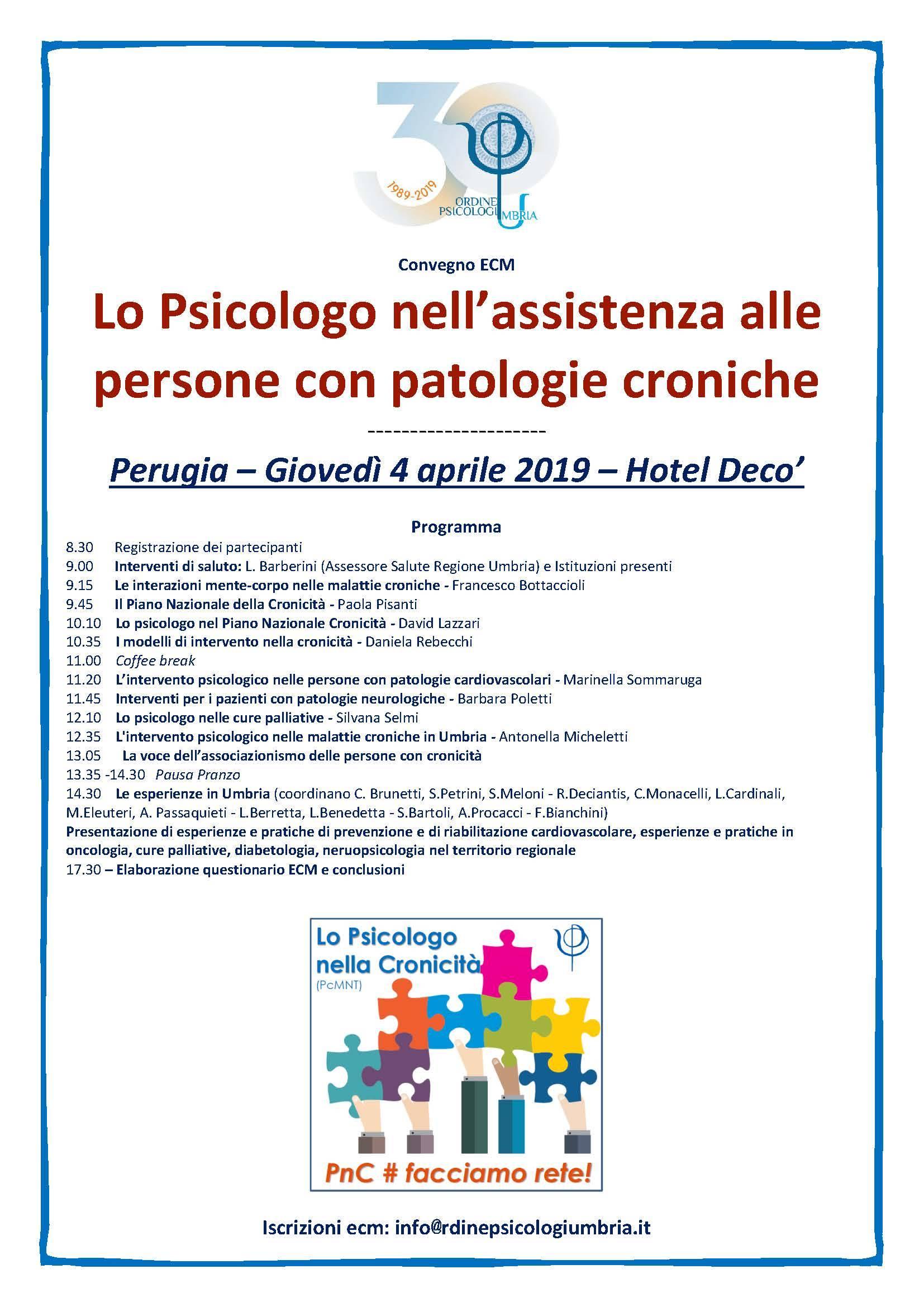 Lo Psicologo nell'assistenza alle persone con patologie croniche