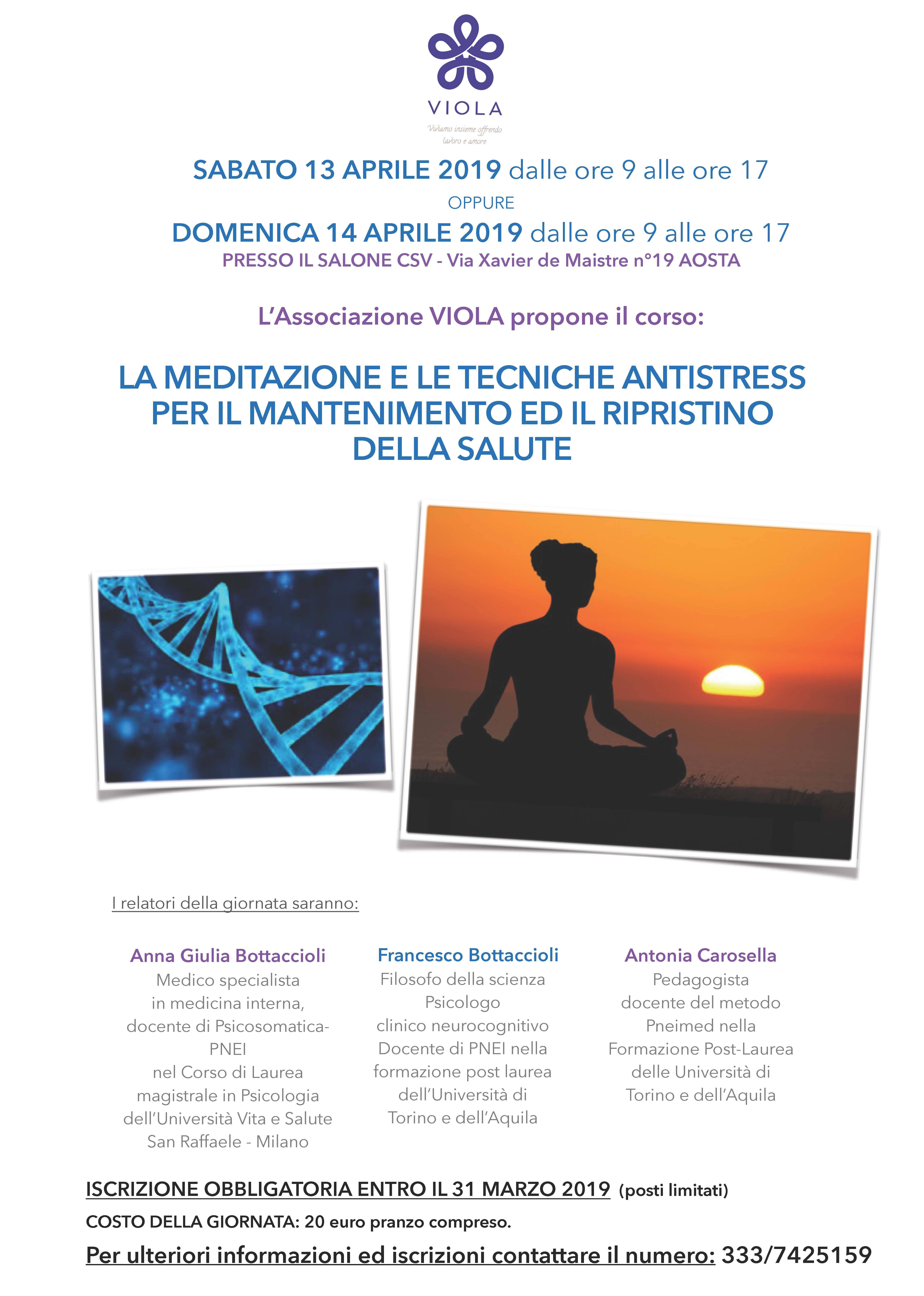 Aosta 13-14 Aprile 2019. Giornate introduttive alla Meditazione PNEI