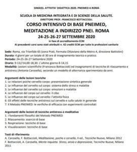 E' PROPRIO IL TEMPO DELLA MEDITAZIONE. PNEIMED A ROMA 24-27 SETTEMBRE 2020